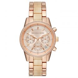 Ladies Michael Kors Chronograph Ritz Rose Gold-Tone Stainless Steel and Champagne Acetate Watch MK6493