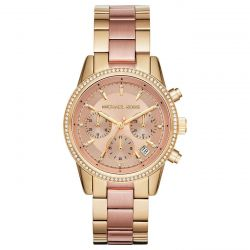 Ladies' Michael Kors Chronograph Ritz Two-Tone Stainless Steel Bracelet Watch MK6475