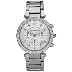 Ladies' Michael Kors Parker Silver-Tone Crystal Watch