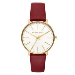 96e9934e0ec0 image of Ladies  Michael Kors Pyper Gold-Tone Merlot Leather Strap Watch  MK2749 with