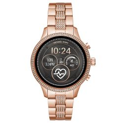 Ladies' Michael Kors Runway Pavé Rose Gold-Tone Smartwatch MKT5052