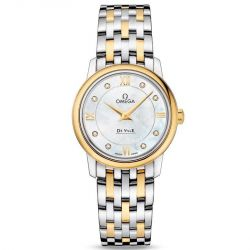 Ladies' OMEGA De Ville Prestige Diamond Two-Tone Yellow Gold and Stainless Steel Watch O42420276055001