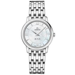 Ladies' OMEGA De Ville Prestige White Mother-of-Pearl Dial Stainless Steel Watch O42410276005001