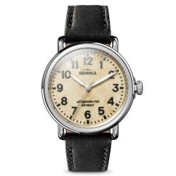 Ladies' Shinola 'The Petoskey Runwell' Black Leather Strap Watch S0120121831
