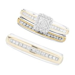 Ladies' Two-Tone Matching Diamond Band 1/15ctw