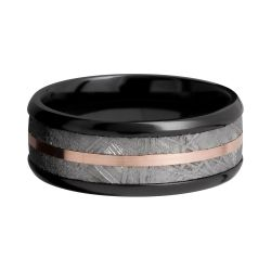 Lashbrook Black Zirconium 8mm Comfort Fit Band with Rose Gold and Meteorite Inlay