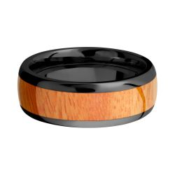 Lashbrook Black Zirconium 8mm Domed Comfort Fit Band with Osage Orange Inlay