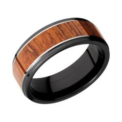Lashbrook Black Zirconium 8mm Flat Comfort Fit Band with Desert Ironwood Inlay