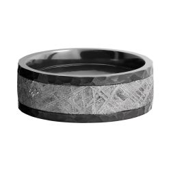 Lashbrook Black Zirconium 8mm Flat Comfort Fit Band with Meteorite Inlay