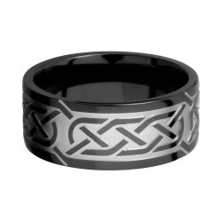 Lashbrook Black Zirconium 9mm Flat Comfort Fit Band with Laser Celtic Design