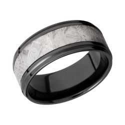 Lashbrook Black Zirconium 9mm Flat Comfort Fit Band with Meteorite Inlay