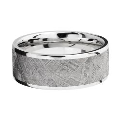 Lashbrook Cobalt Chrome 9mm Flat Comfort Fit Band with Meteorite Inlay
