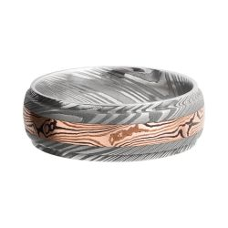 Lashbrook Damascus Steel 7mm Domed Comfort Fit Band with Rose Gold and Mokume Inlay