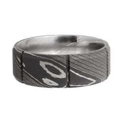 Lashbrook Segment Damascus Steel 8mm Comfort Fit Band with Acid Finish