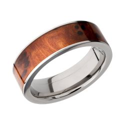 Lashbrook Titanium 7mm Flat Comfort Fit Band with Thuya Burl Inlay