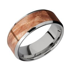 Lashbrook Titanium 8mm Comfort Fit Band with Maple Burl Inlay