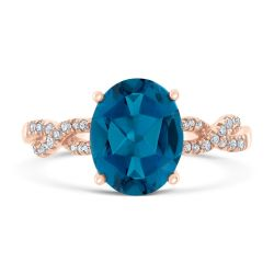 London Blue Topaz and Diamond Rose Gold Twist Ring 1/10ctw
