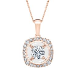 MAGNIFICENCE Cushion Halo Rose Gold Pendant 1/3ctw