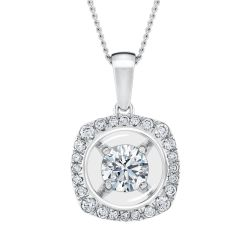 MAGNIFICENCE Cushion Halo White Gold Pendant 1/3ctw