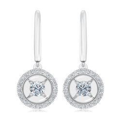 MAGNIFICENCE Diamond Halo Drop White Gold Earrings 1/3ctw