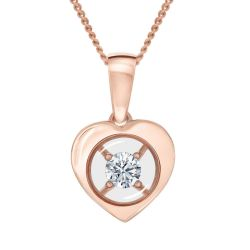 MAGNIFICENCE Diamond Heart Rose Gold Pendant 1/15ct