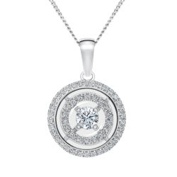 MAGNIFICENCE Double Halo Round White Gold Pendant 1/4ctw