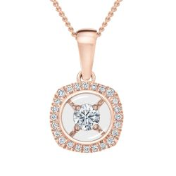 MAGNIFICENCE Halo Diamond Cushion Rose Gold Pendant 1/6ctw