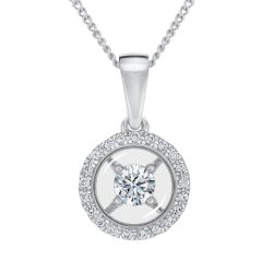 MAGNIFICENCE Halo Diamond Round White Gold Pendant 1/6ctw