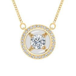 MAGNIFICENCE Round Diamond Halo Yellow Gold Pendant 1/4ctw