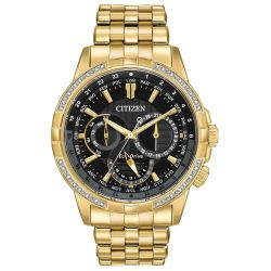Men's Citizen Eco-Drive Calendrier Gold-Tone Bracelet Watch BU2082-56E