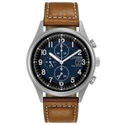 Men's Citizen Eco-Drive Chronograph Brown Leather Strap Watch CA0621-05L