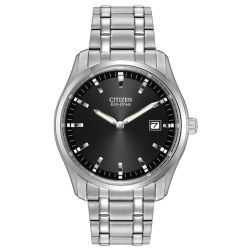Men's Citizen Eco-Drive Classic Stainless Steel Black Dial Watch