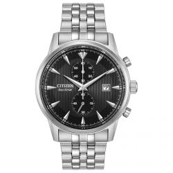 Men's Citizen Eco-Drive Corso Stainless Steel Black Dial Watch CA7000-55E