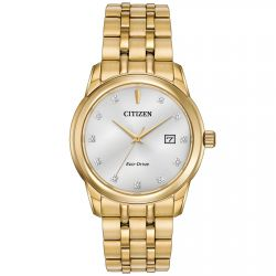 Men's Citizen Eco-Drive Diamond Yellow Gold-Tone Watch BM7342-50A