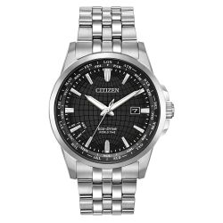 Men's Citizen Eco-Drive World Time Stainless Steel Bracelet Watch BX1000-57E