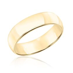 Men's Comfort Fit 6mm Yellow Gold Wedding Band