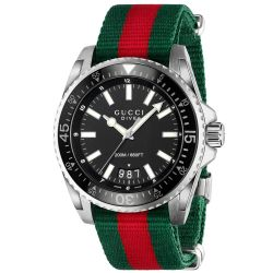 Men's Gucci Dive XL Red and Green Strap Black Dial Watch