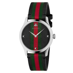 Men's Gucci G-Timeless Black, Green and Red Striped Nylon Watch YA1264079