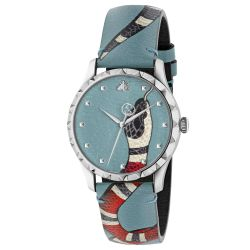 3065d83ce56 Men s Gucci G-Timeless Blue Leather Kingsnake Watch YA1264080 ...