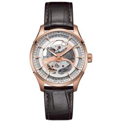 Men's Hamilton Viewmatic Skeleton Brown Leather Watch H42545551