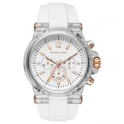 fbe538ad469b image of Men s Michael Kors Chronograph Dylan White Silicone Strap Watch  MK8577 with sku 19760255