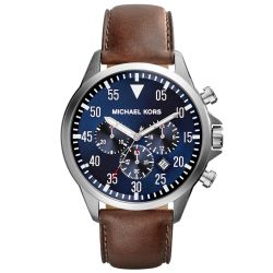 Mens Michael Kors Gage Chronograph Brown Leather Blue Dial Watch MK8362