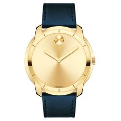 Men's Movado BOLD Large Yellow Gold-Tone Dial Leather Strap Watch 3600469