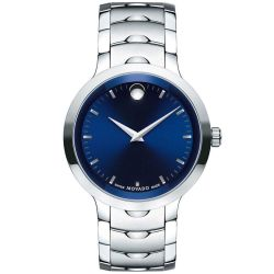 Men's Movado Luno Blue Dial Stainless Steel Watch 0607042