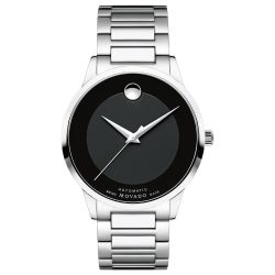 Men's Movado Modern Classic Black Dial Stainless Steel Watch 0607132