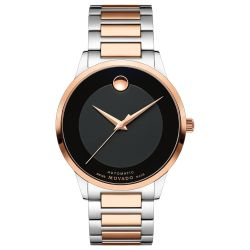 Men's Movado Modern Classic Black Dial Two-Tone Stainless Steel Watch 0607133