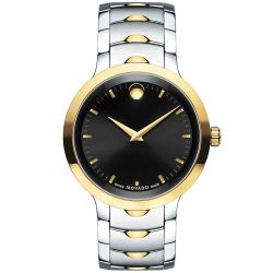 Men's Movado Two-Tone Luno Black Dial Stainless Steel Watch 0607043