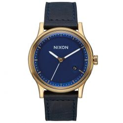 Men's Nixon Station Navy Blue Leather Strap Watch A1161933