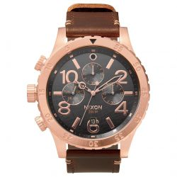 Men's Nixon The 48-20 Chrono Rose Gold Dial Brown Leather Watch A363-2001-00
