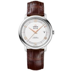 Men's OMEGA De Ville Prestige Co-Axial Brown Leather Strap Watch O42413402002002